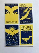 GREENPEACE 1970's Save the Whales Stamps - Block of 4 , blue/yellow (Never Used)