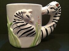 Vintage Collectible WBI Zebra Head Handle Safari Animal Coffee Tea Mug Cup 14 oz
