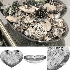 Large Silver Hammered Effect Heart Shaped Decorative Candle Plate Fruit Bowl