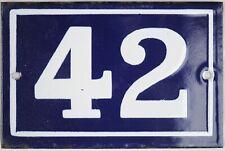 Old blue French house number 42 enamel porcelain metal building door sign plate