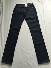 Levis Womans Bold Curve Straight Dk Blue Jeans,W26 L34 BNWT(110014)