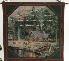 "Thomas Kinkade Tapestry Wall Hanging END OF A PERFECT DAY 27"" X 27"""