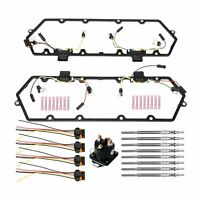Fit 94-97 Ford 7.3L Powerstroke Valve Cover Gaskets Harness+Glow Plugs+Relay Kit