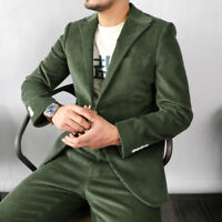 Army Green Men Corduroy Two Pieces Vintage Suits Formal Leisure Tuxedos Slim Fit