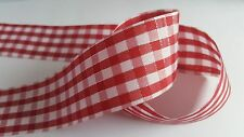 1m Double-Sided Ribbon - 40mm - Metallic - Gingham - Red & White