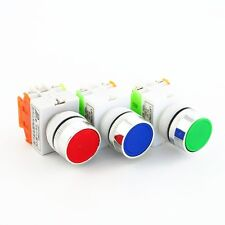 3Pcs 22mm Red Green Blue NO+NC Momentary Push Button Switches 600V 10A