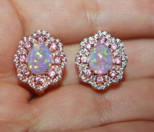fire opal Cz earrings gemstone rose gold filled jewelry evening cocktail stud R