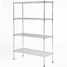 "55""x36""x14"" Heavy Duty 4 Tier Wire Shelving Rack Chrome Steel Shelf Adjustable"
