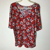 Leota for Dia & Co. Women's Top Size 1L (14 16) Short Sleeves V-Neck Floral