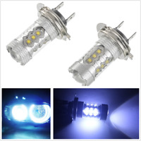 Pair Ice Blue 80W Super Bright H7 8000K 2828 LED Bulb for Low Beam Headlight DRL