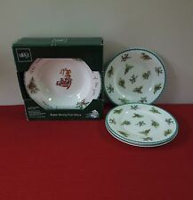 4 SOUP BOWLS IN BOX +3 SALAD PLATES MIKASA CHRISTMAS WISH ULTIMA + (OTRS AVAIL)