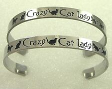 Crazy Cat Lady Cuff Bracelet Bangle Kitty Stainless Steel Silver