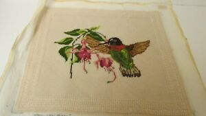 """Pre-worked Handstitched Needlepoint Canvas Finished """"Hummingbird"""""""