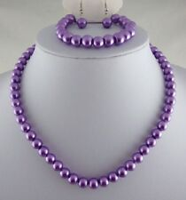SILVER TONE PURPLE GLASS PEARL NECKLACE  EARRINGS BRACELET SET