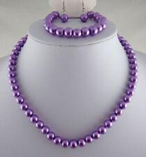 Purple Glass Pearl Necklace Earrings & Bracelet Set