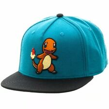 NEW BIOWORLD Pokemon Charmander Embroidered Snapback Cap Hat, Blue
