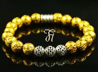 Lava galvanisiert Armband Bracelet Perlenarmband Silber Beads Buddha gold 8mm