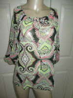 a.n.a Petite Medium Women's Blouse 3/4 Sleeve Multi Color Semi Sheer