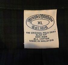 Brooks Brothers Slim Fit Non Iron Dress Shirt Mens XL Green Black Plaid Cotton