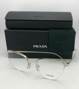 New PRADA Eyeglasses VPR 60U ZVN-1O1 51-19 140 Gold Semi Rimless Cat Eye Frames
