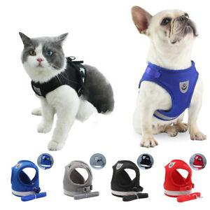 Cat Dog Harness Pet Puppy Adjustable Reflective Vest Walking Lead Mesh Polyester