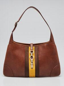 Gucci Brown Leather Jackie O Bouvier Small Hobo Bag