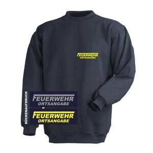 FEUERWEHR Sweat-Shirt / Pullover navy mit Brust- und Rückenaufdruck