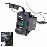 Auto Boot 2-USB Ladegerät Schalttafel Schalter Steckdose Grün LED Voltmeter 12V