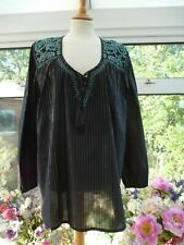 EAST BLACK & SILVER STRIPES & TEAL EMBROIDERED OVERSIZE BOHO TOP NEW Sz 18