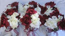 6 Centerpieces Wedding table Flowers VASE wedding Bouquets decorations BURGUNDY