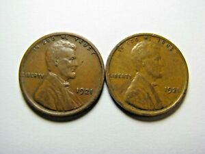 Two 1921 Lincoln Wheat Cents