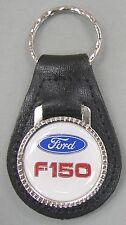 Vintage White Ford F-150 Black Leather USA Keyring Key Fob Key Holder