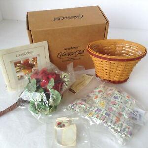 Longaberger Miniature Geranium Basket Set May Series with Flowers 2005 NIB