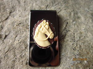 TAN HORSE CAMEO STAINLESS STEEL MONEY CLIP- FATHER'S DAY GIFT - DAD - ANNIVERS