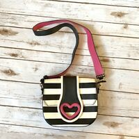 Betsey Johnson Crossbody Bag Shoulder Purse Black White Striped Pink Heart Gold