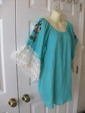NWT Turquoise Blue Embroidered Peasant Blouse Tunic~Lace Sleeve~VA VA Joy Han~M