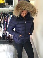 moncler Blue coat womens Size 3 Real Fur