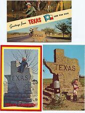 3 Fun Vintage Texas Postcards Little boy in Cowboy Boots & Diaper