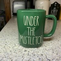 "NEW 2020 RAE  Dunn by Magenta L/L ""UNDER THE MISTLETOE"" Green Coffee Mug  HTF"