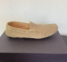 PRADA MEN'S TAN SUEDE DRIVING SHOES EXCELLENT COND 2D1101 WITH BOX SIZE 8.