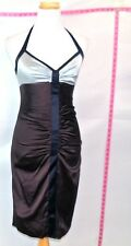 BCBGMaxazria Brown & Blue Bodycon Sheath Silk Halter Dress Sz 4 #5172 Batch 182