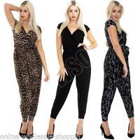 Ladies Plain Aztec Tie Dye Animal Leopard Print All In One Jumpsuit Size S M L 8