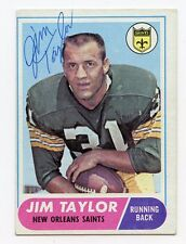 JIM TAYLOR Signed 1968 Topps  #160 Saints Packers HOF  KOA  Authenticated