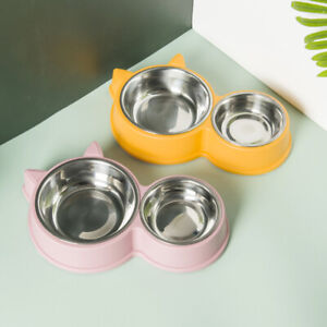 Hot Dog Cat Pet Feeding Food Water Bowl Non Slip Double Slow Feeder Plastic Mat