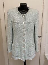 CHANEL Genuine Pale Blue Boucle Style Collarless Jacket Size 40, UK 10