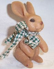 "Sarah's Attic Acrylic Bunny Rabbit Figurine with Plaid Wire Neck Bow New 4.25""T"