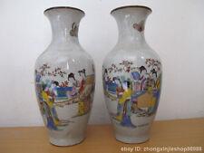 Chinese vintage WuCai porcelain Ladies  Queen Vase statue Pair