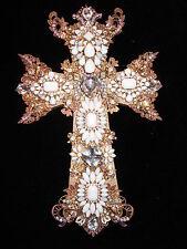 Large Vintage Rhinestone Jewelry Christmas Tree Un Framed Cross Art  12  x 7