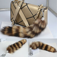 Charm Black Brown Real American Fur Tail Keychain Tassel bag charm Key Ring Gift