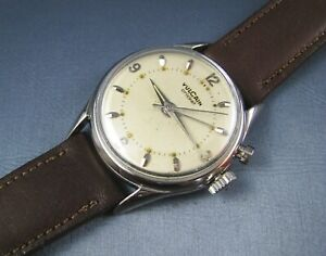 Vintage Vulcain Cricket Alarm Mens Watch  Silver Tone 17J Caliber 120 1950s
